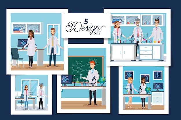 Scénographie de scènes de laboratoire avec groupe scientifique