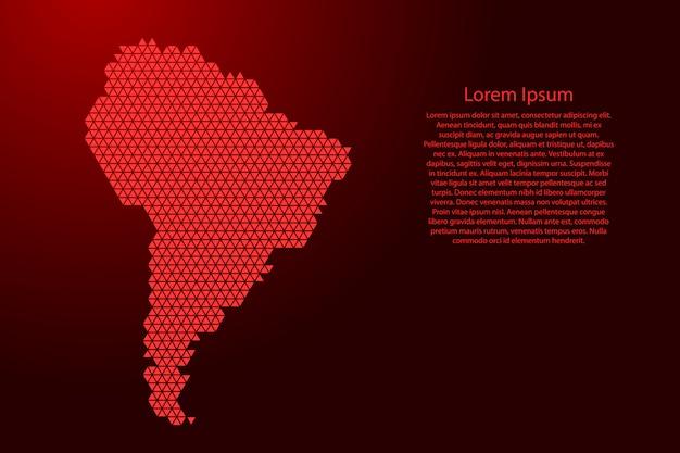 Schéma abstrait de la carte de l'amérique du sud avec des triangles rouges