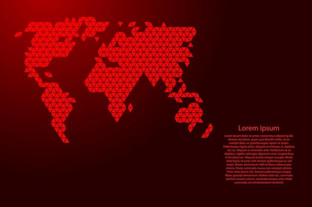 Schéma abstrait de la carte du monde avec des triangles rouges