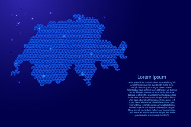 Schéma abstrait de la carte de la suisse à partir de triangles bleus avec des noeuds et des étoiles de l'espace
