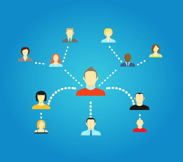 Schéma abstrait d'illustration vectorielle de réseau social