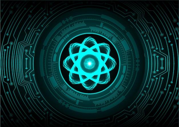 Schéma de l'atome bleu brillant