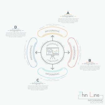 Schéma circulaire avec des zones de texte et 4 éléments arrondis