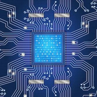 Schéma de conducteur abstrait de micropuce de processeur de fond de carte de circuit imprimé et d'autres composants de circuit