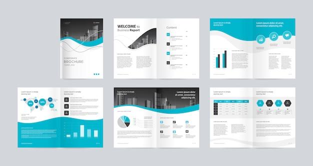 Schéma de configuration avec page de garde pour modèle de rapport annuel et de brochures du profil d'entreprise