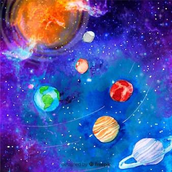 Schéma du système solaire aquarelle original