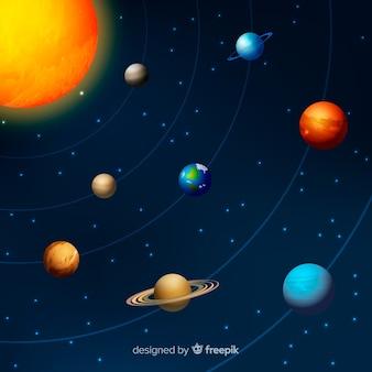 Schéma du système solaire avec une conception réaliste