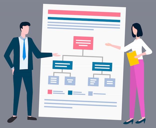 Schéma financier homme femme discuter de questions commerciales