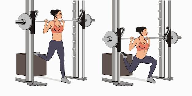 Schéma de guide d'exercices de squat split bulgare smith machine