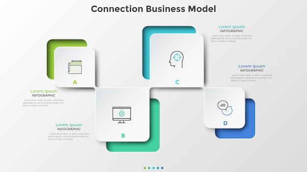 Schéma moderne avec quatre éléments blancs en papier carré connectés. modèle d'affaires de connexion. modèle de conception infographique créatif. illustration vectorielle pour la visualisation du plan stratégique en 4 étapes.