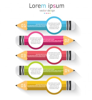 Schéma pour l'éducation et les affaires avec un crayon avec cinq options