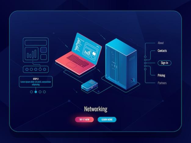 Schéma de réseau isométrique, échange de données, transfert de données d'un ordinateur à un serveur