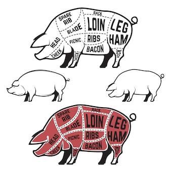 Schéma, schéma et guide du boucher - coupes de porc. ensemble de silhouettes de cochon isolé sur fond blanc