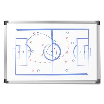 Le schéma de la tactique du football a été dessiné avec des marqueurs sur le tableau blanc