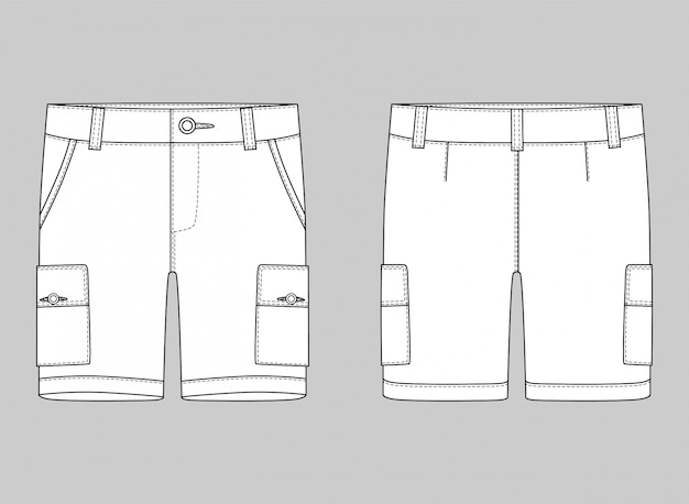 Schéma technique pantalon cargo