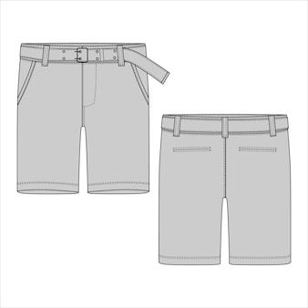 Schéma technique pantalon court gris avec ceinture