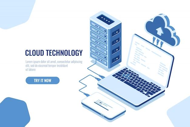 Schéma de transmission de données, connexion sécurisée isométrique, cloud computing, salle des serveurs, centre de données