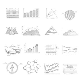 Schémas de diagrammes d'esquisse et jeu d'éléments infographiques