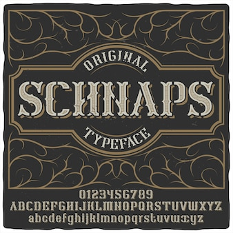 Schnaps étiquette de caractère