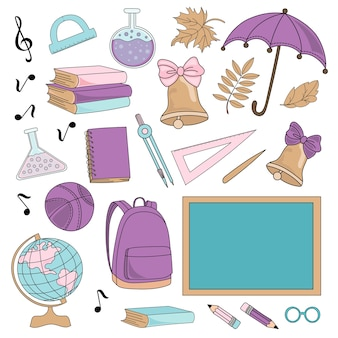 School autumn vector illustration set fournitures scolaires
