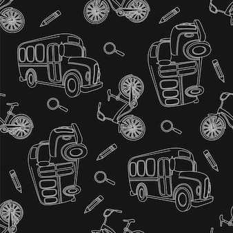 School bus & bike black seamless pattern