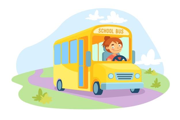 Schoolbus jaune avec personnage de conducteur féminin