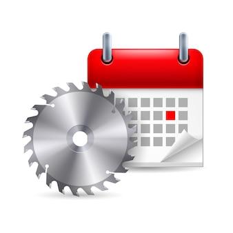 Scie Circulaire Et Calendrier Vecteur Premium