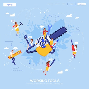 Scie électrique, page de destination des outils de travail.
