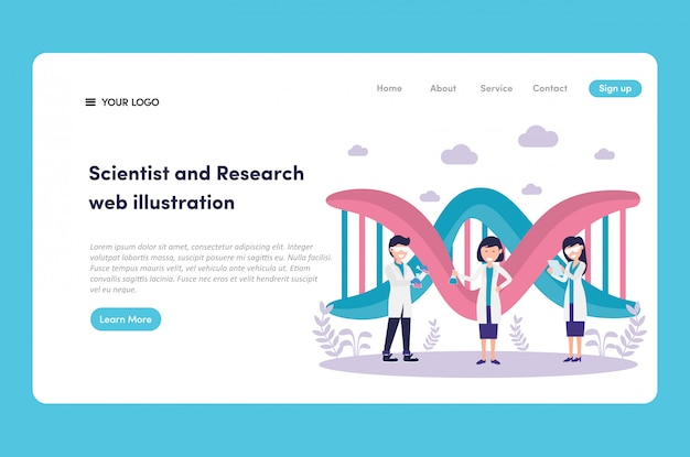 Science de l'adn génétique avec chercheur et scientifique en web uniforme de laboratoire illustration et landing page vecteur premium