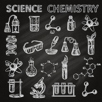 Science et chimie croquis icônes tableau noir avec des combinaisons d'éléments