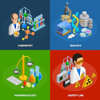 Science concept icons set