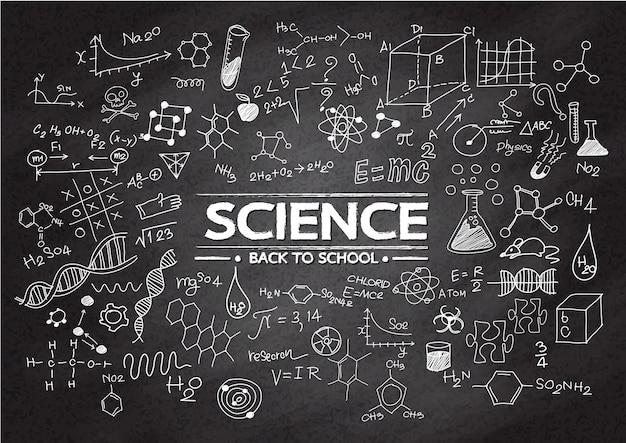 La science griffonne des objets sur un tableau