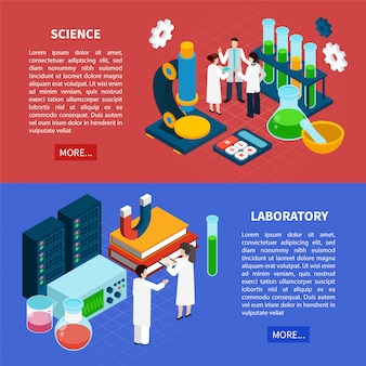 Science horizontal banners set