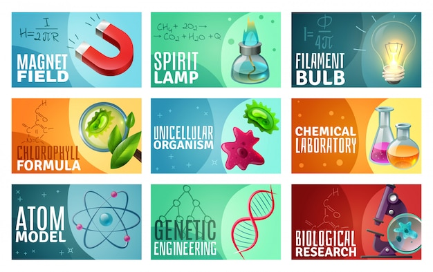 Science Illustration Set Vecteur gratuit