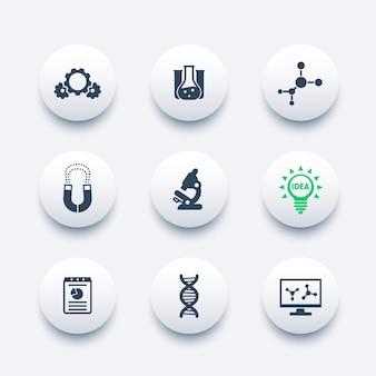 Science, jeu d'icônes d'étude en laboratoire