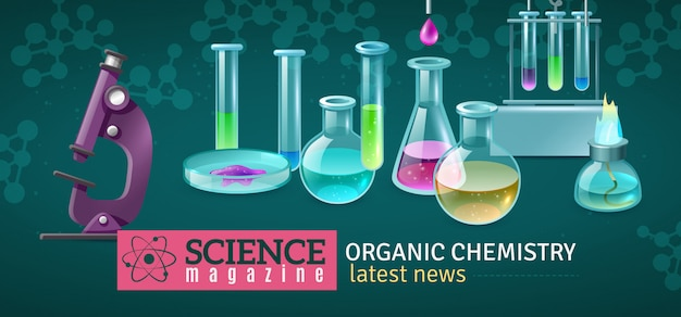Science magazine horizontal vector illustration