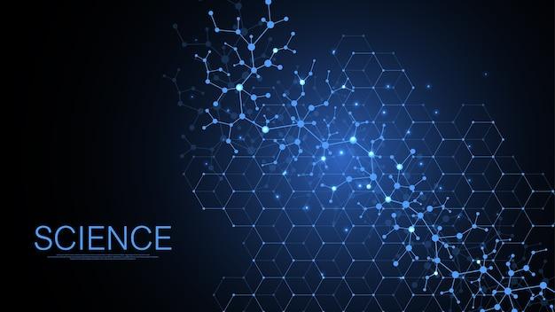Science résumé fond de concept de connexion réseau numérique.