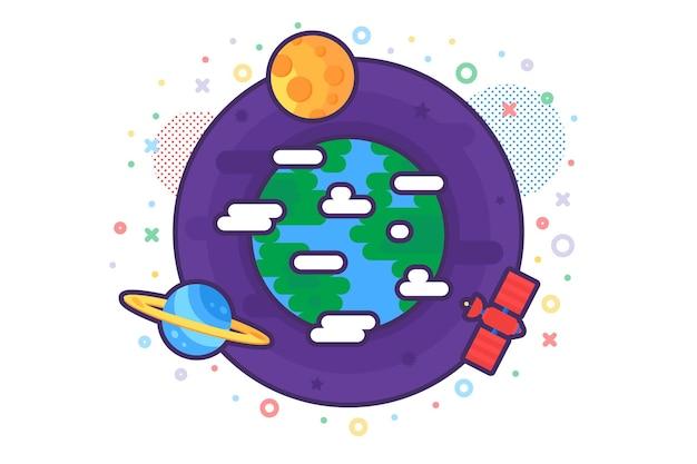 Sciences naturelles recherchant le vecteur d'icône de planète. recherche sur l'environnement et l'écologie de la sphère terrestre avec satellite. pictogramme linéaire du concept de recherche sur le réchauffement climatique et l'univers. illustration de contour