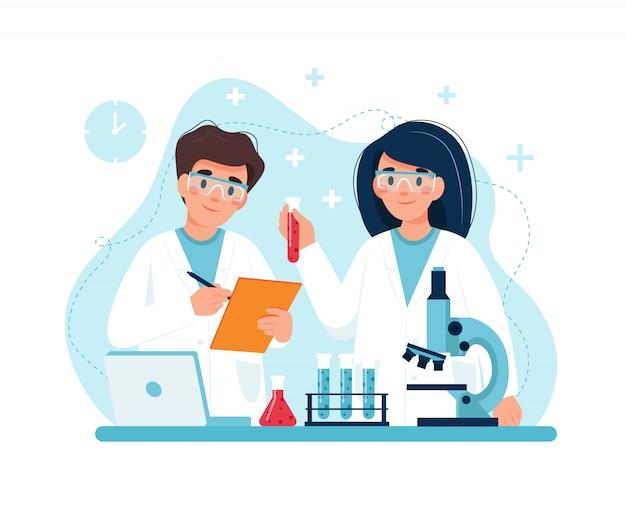 Scientifique au travail, personnages menant des expériences en laboratoire.