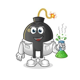 Le scientifique de la bombe. mascotte de dessin animé