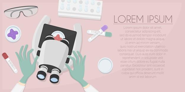 Scientifique dans la bannière du lieu de travail de laboratoire. recherche en laboratoire à l'hôpital. illustration