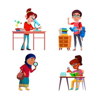 Scientifique des écolières recherchant le vecteur de jeu