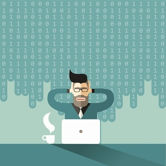 Le scientifique économiste barbu et à lunettes serre sa tête de hipster sous l'avalanche du big data