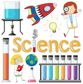Scientifique et équipements élément sur fond blanc