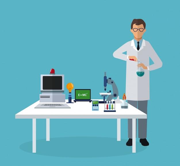 Scientifique expérimenter des éléments de laboratoire sur la table