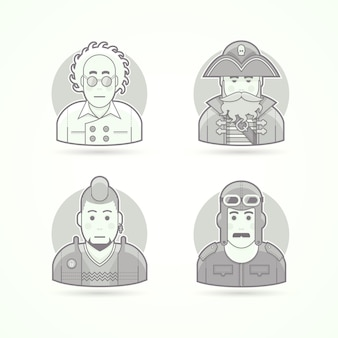 Scientifique fou, pirate de mer, fan de punk, pilote vintage, ensemble d'illustrations de personnage, d'avatar et de personne. style décrit en noir et blanc.