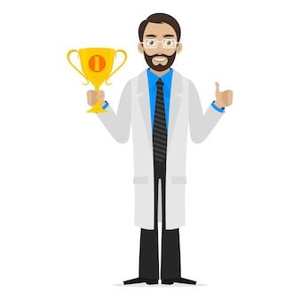 Le scientifique de l'illustration tient la première place de la coupe, format eps 10