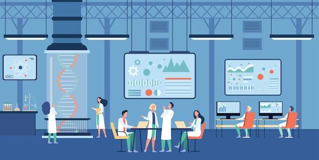 Scientifique médical travaillant dans la science recherche illustration plate de laboratoire.