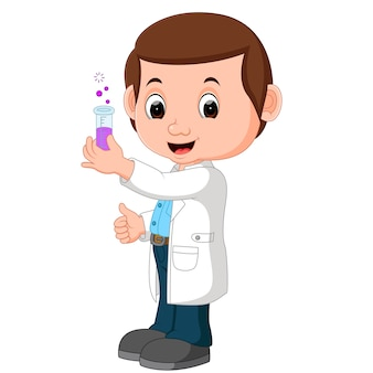 Scientifique ou professeur tenant le flacon