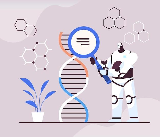 Scientifique en robotique travaillant avec un chercheur de robot adn faisant une expérience en laboratoire test adn diagnostic génétique intelligence artificielle